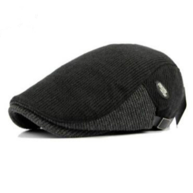 patchwork knitted beret hat old men thick warm winter hat flat duckbill cap spring autumn adjustable peaked bone