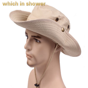 wide brim bucket hat with string flat fishing cap women men solid large  brim sun hat 49462c84e87
