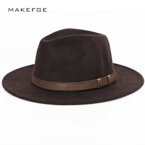 wide brim hat  top hat  mens hats fedoras  Winter Autu Imitation Woolen Women Men Ladies Fedoras Top  Round Caps Bowler Hats