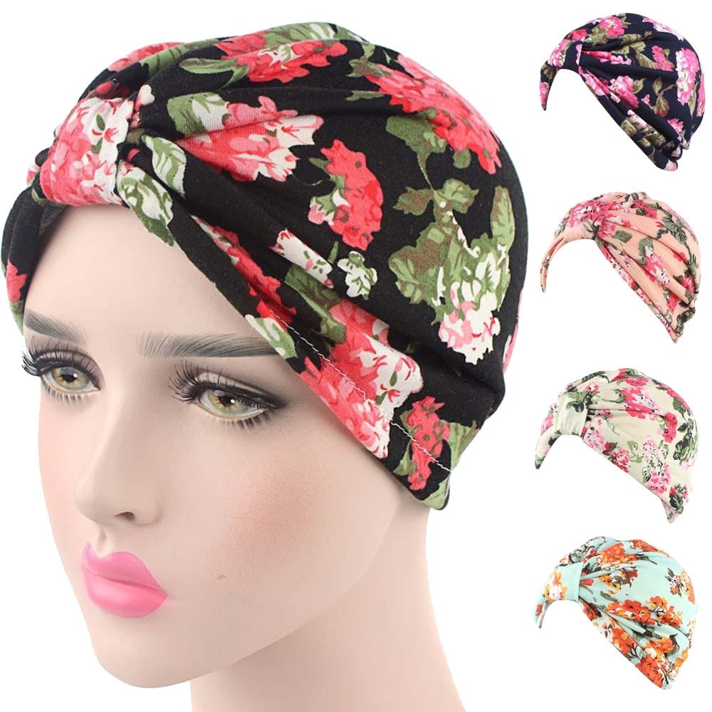 cdcc3a74c610b winter hat Small Floral Printing India Cancer Chemo Hat Beanie Scarf Turban  Head Wrap Cap hats for women