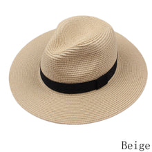 Load image into Gallery viewer, women and men summer floppy straw sun hats panama beach hats for women tea party vogue classic black girdle jazz kids sun caps