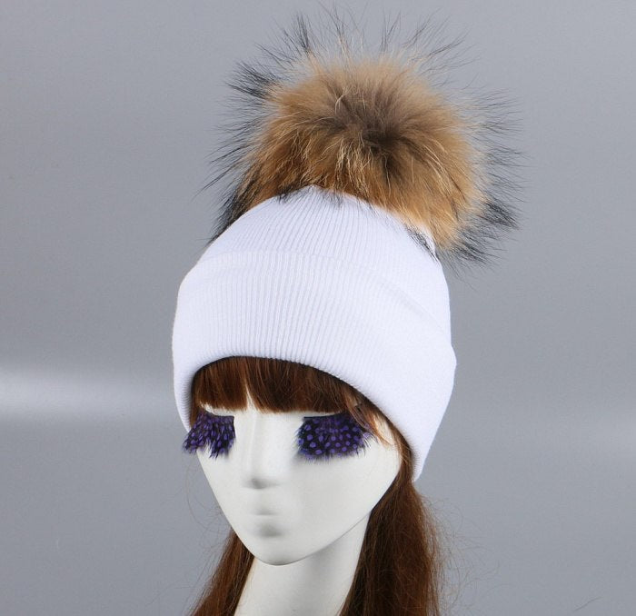 f0881e8e5 women brand fur pompom winter hat cap mix colorful knitted casual large  size ball beanies girl woman beauty animal fox skullies