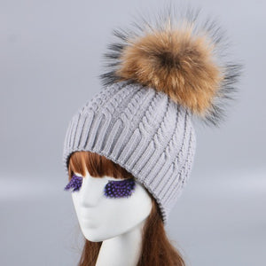 women brand knitted winter hat cap real mink fox pom ball luxury knit beanies white grey two layers thermal beauty gorro skully