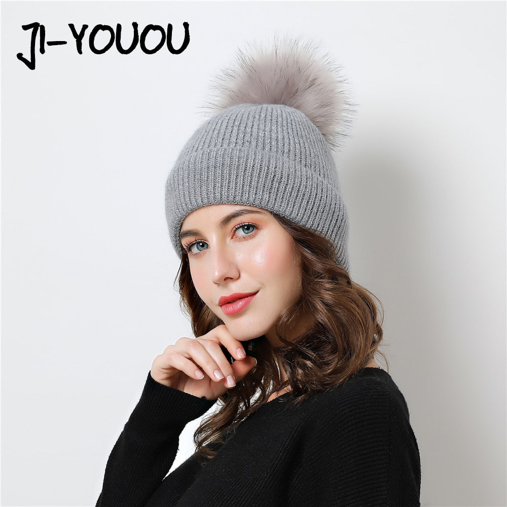 7c1a42eaa13 women s winter hat pompom Knitted hats beanie adult skullies cap design  Thicken Double layer Keep warm Beanies black white caps
