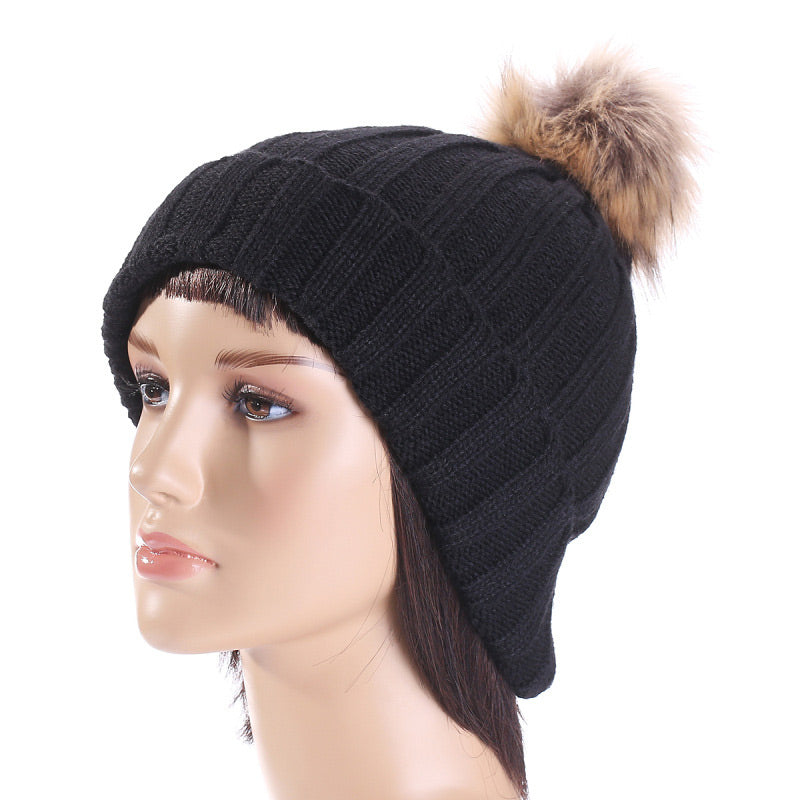 579e3cdbf99 women s winter hat with faux fur cable knit striped pom beanie top ball  skull cap black hot pink red lavender blue