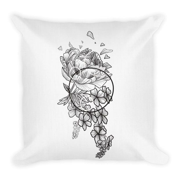 Peony And Geometric Shapes Pillow