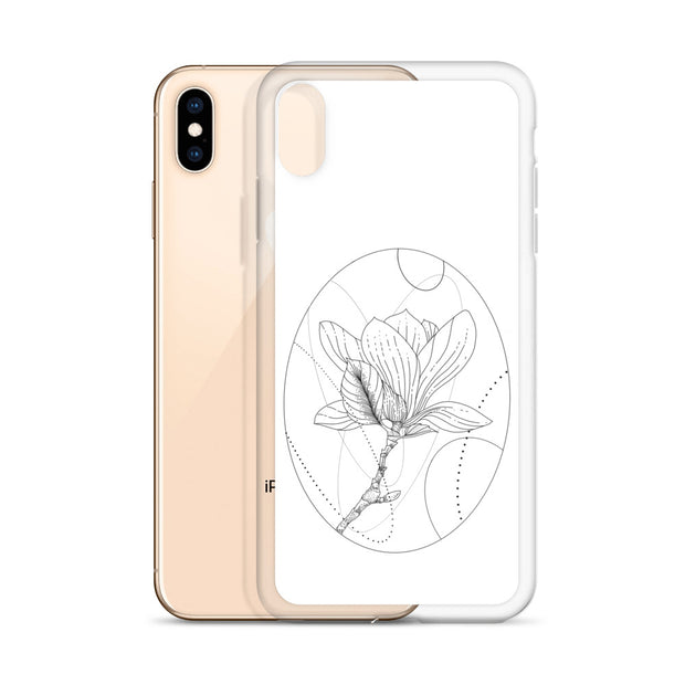 Magnolia And Geometric Shapes iPhone Case