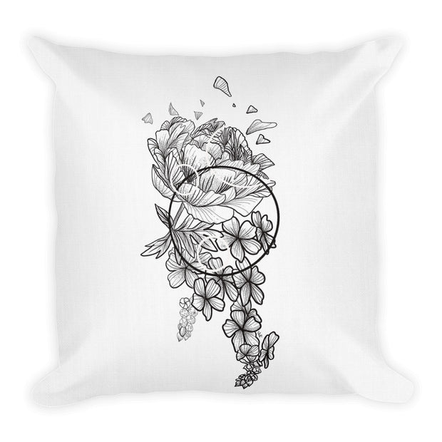 Peony And Geometric Shapes Pillow:Wildoy
