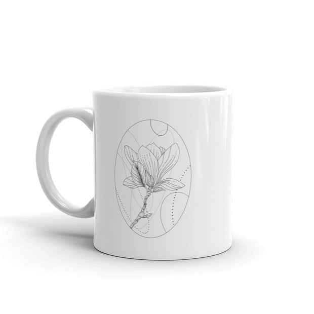Magnolia And Geometric Shapes Mug