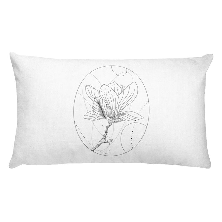 Magnolia And Geometric Shapes Pillow