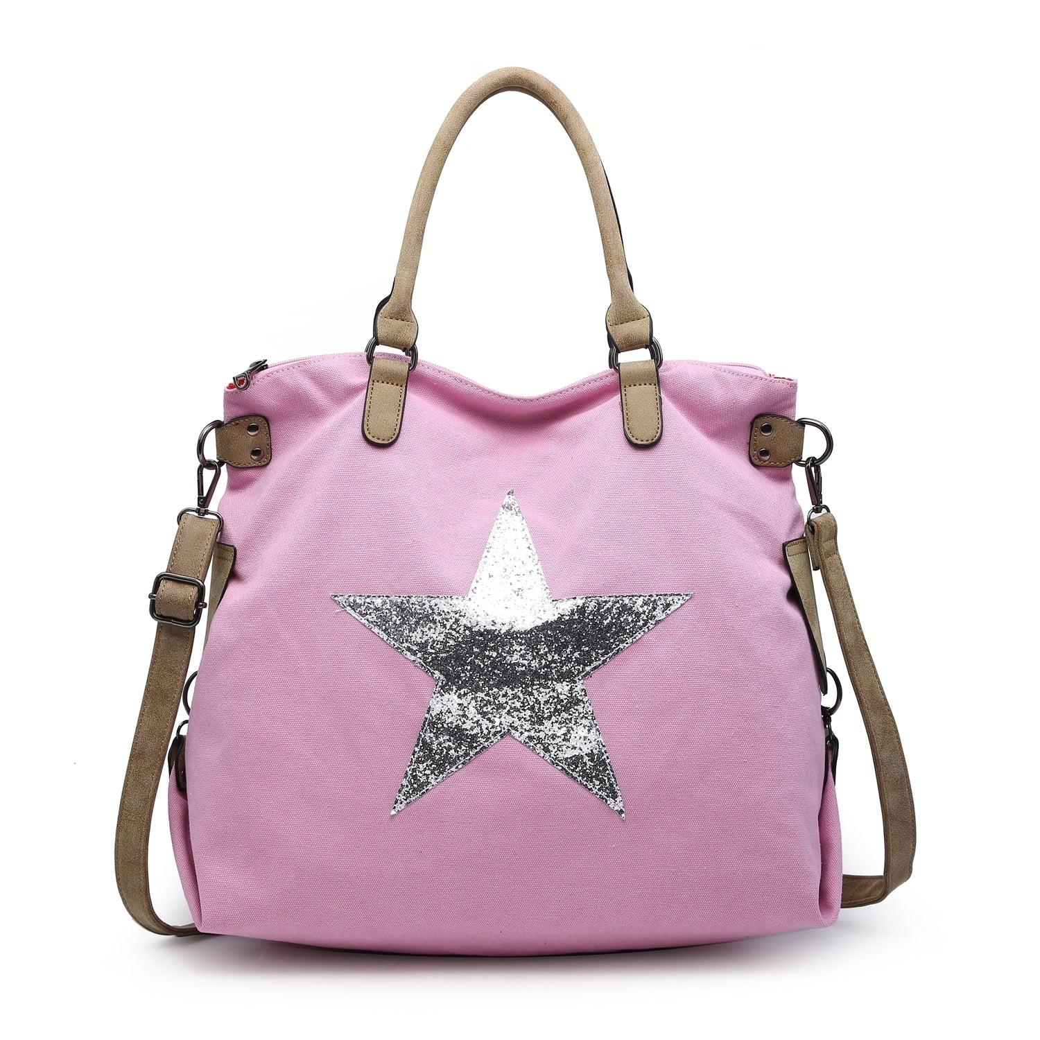 Light Pink Canvas Star Bag - Large