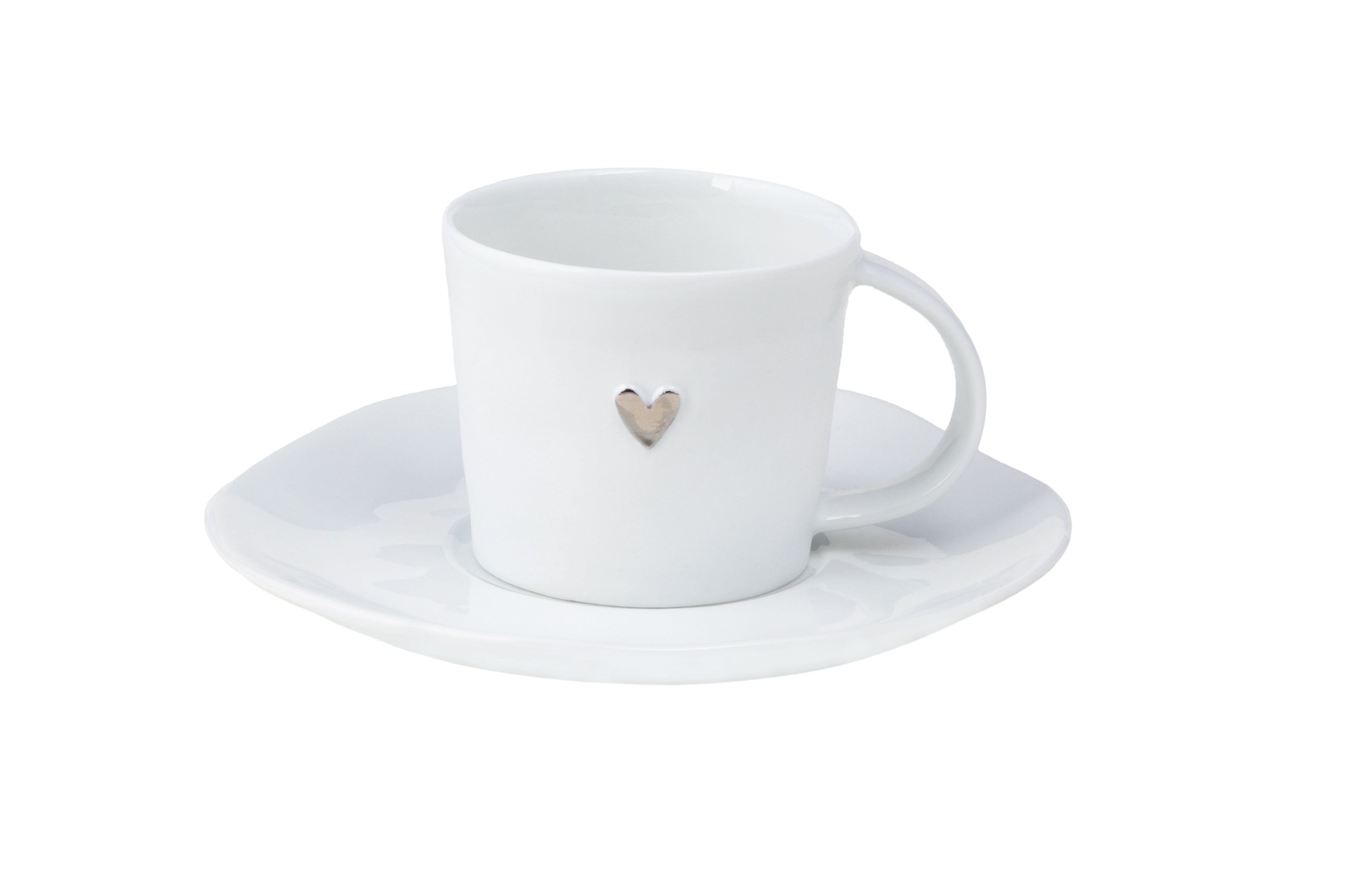 Espresso Cup & Saucer with Slver Hearty