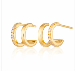 Double Huggie Stud Earrings - Gold