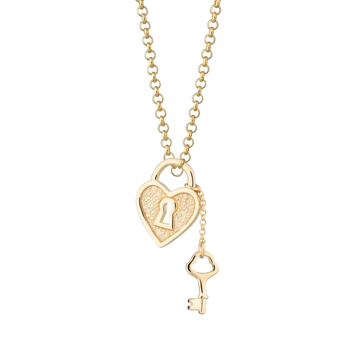 Heart Shaped Padlock and Key Necklace - Gold