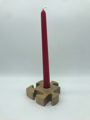 Wooden Jigsaw Piece Candle Stick Holder