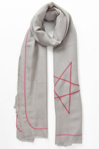 Light Grey & Neon Pink Star Scarf
