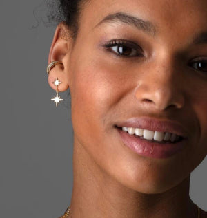 Double Drop Star Stud Earring - Gold