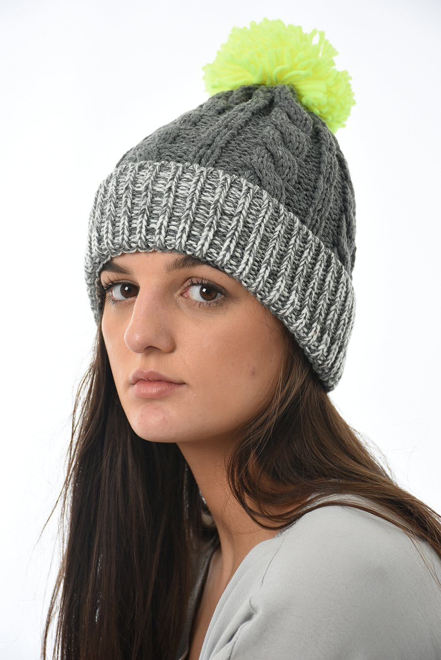 Grey Knitted hat with 2 Neon Pompoms