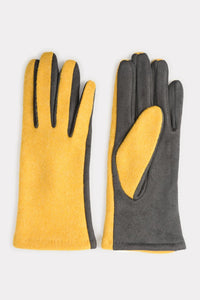 Two Tone Gloves in Mustard & Dark Grey
