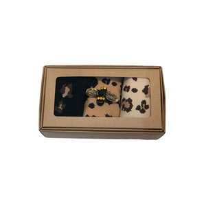 Leopard Luxe Box of 3 Socks with Bumble Bee Pin