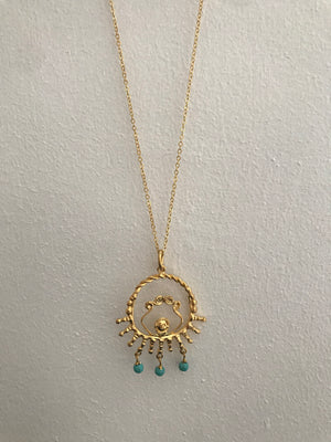 Ottoman Hands Gold & Turquoise Stone Necklace