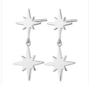 Double Drop Star Stud Earring - Silver