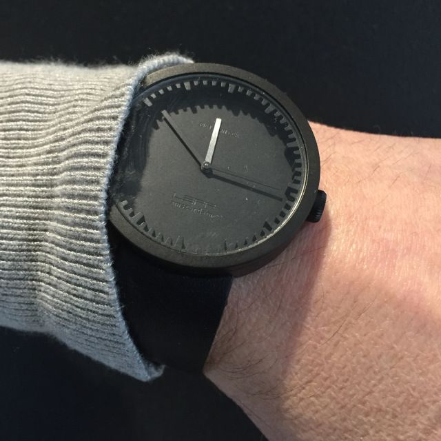 Black With Black Leather Strap Tube Watch D52 - LEFF Amsterdam