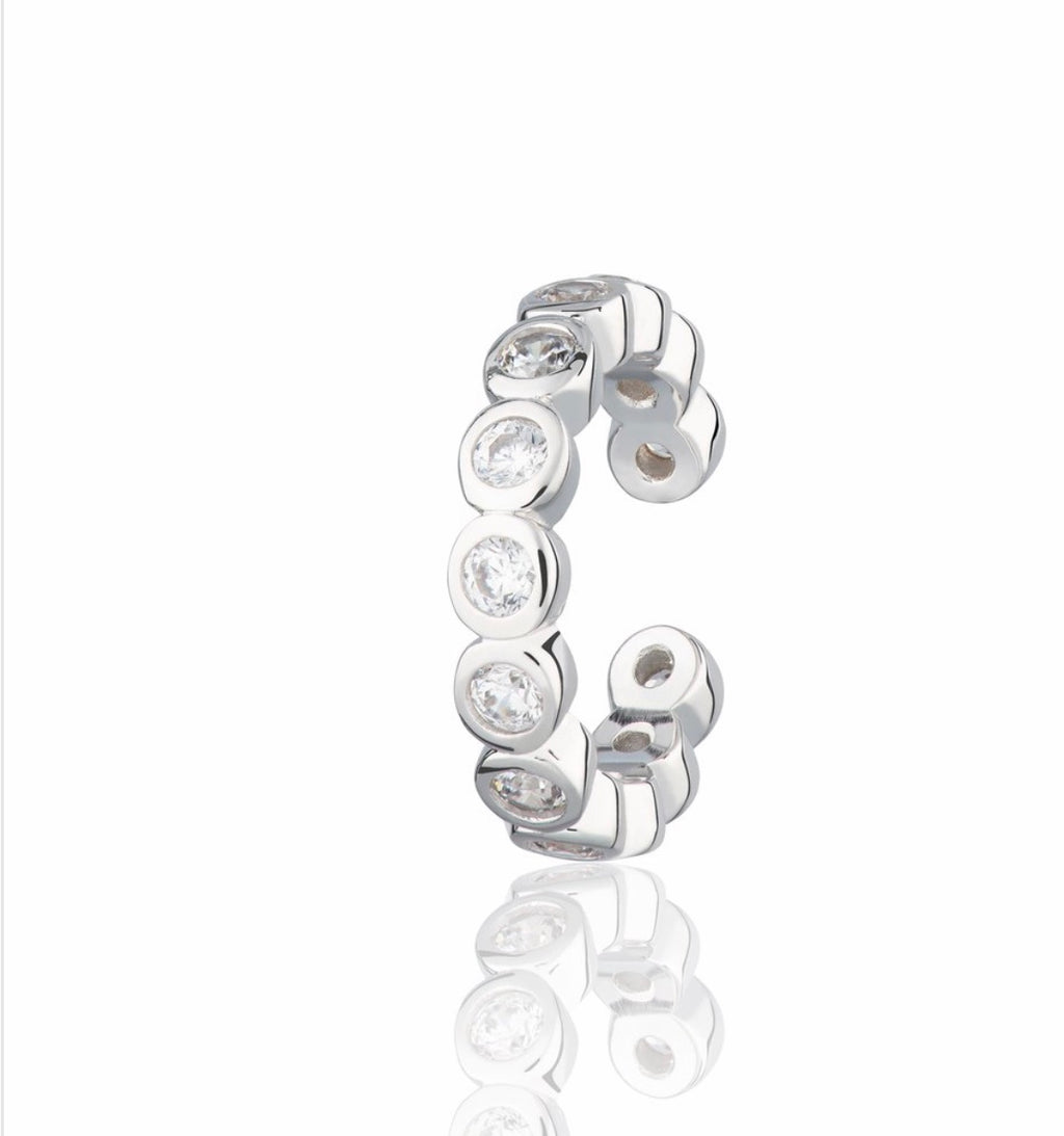 Bezel Ear Cuff With Clear Stones