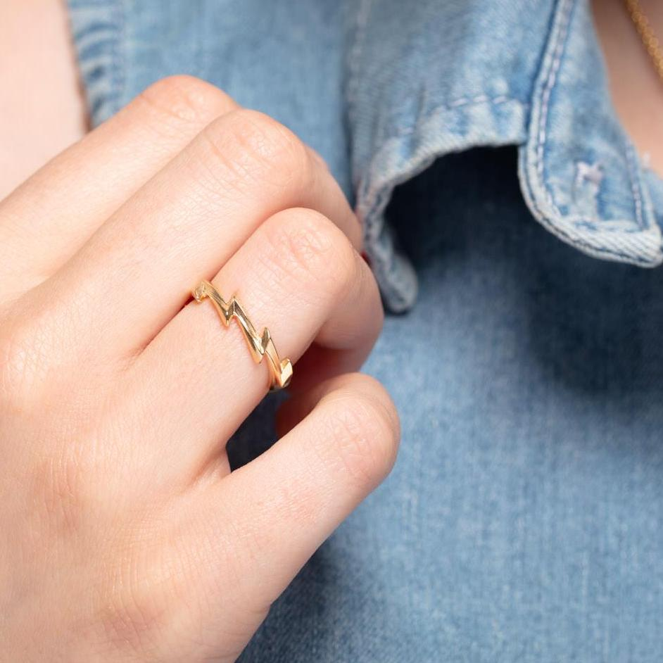 Gold Plated Lightning Bolt Ring - Adjustable