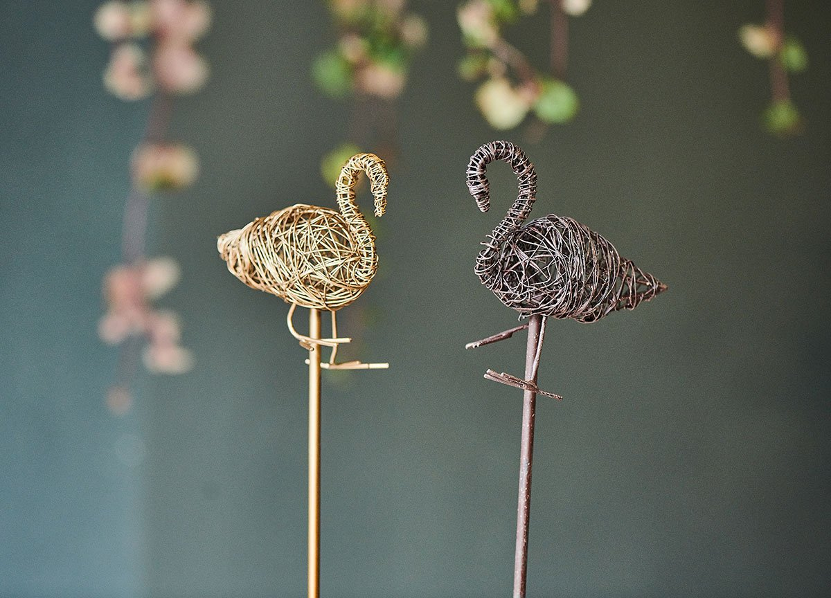 Bayso Wire Flamingo On Stand - Brass