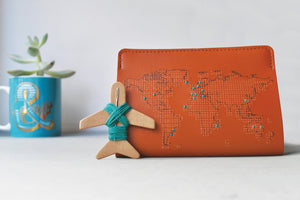 Stitch Leather Passport Cover - Tan