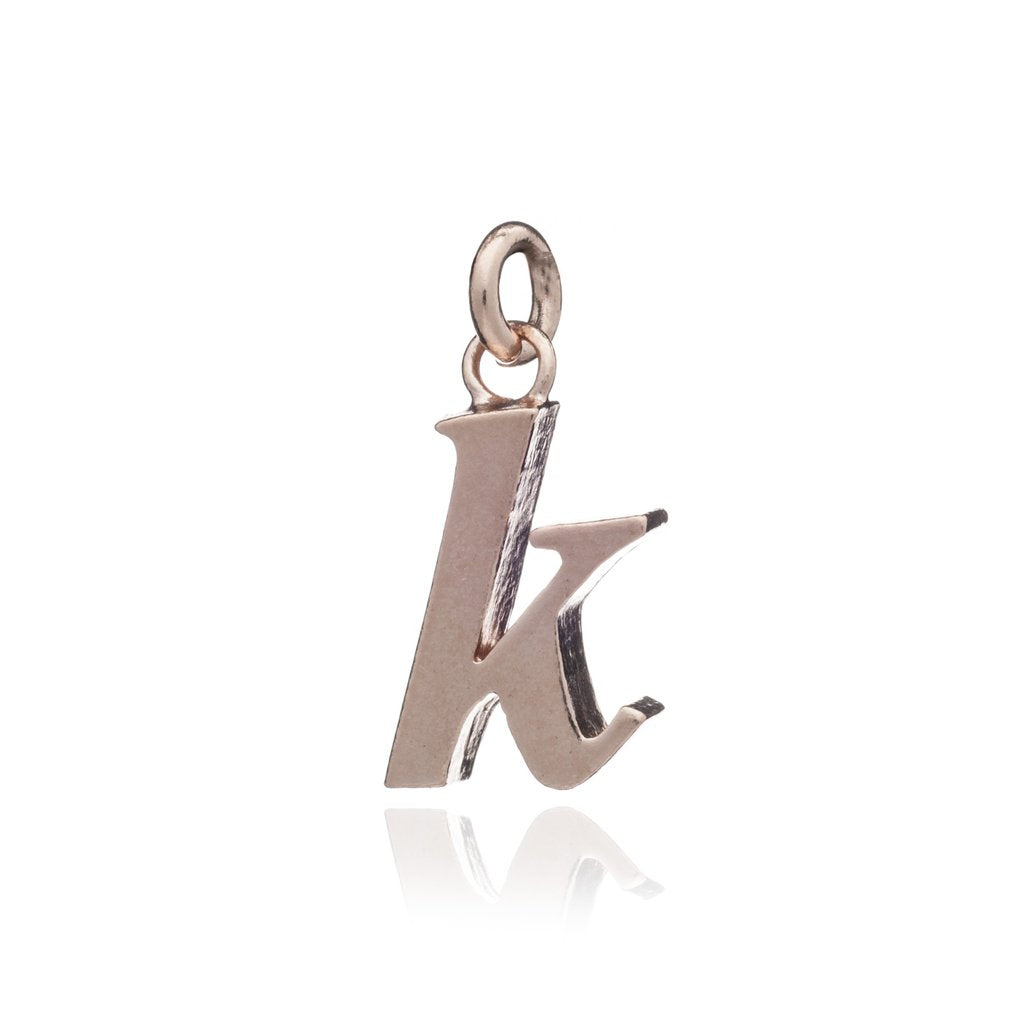"Personalised Initial Necklace - Rose Gold ""k"""