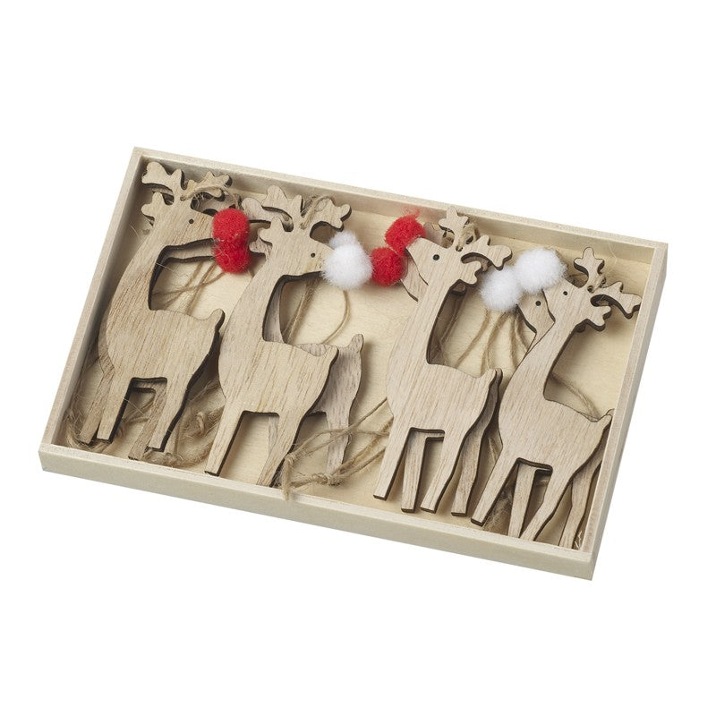 Wooden Reindeer Hangers In Wood Box