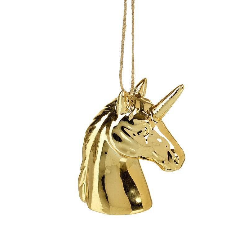 Gold Porcelain Unicorn Head