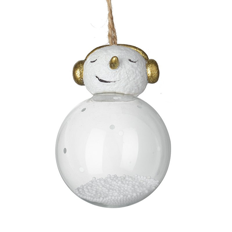 Hanging Glass Snowman With Gold Earmuffs