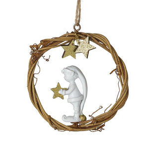 Hanging Twig Wreath With White Elf