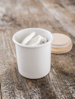 White Enamel Kitchen Canister with Wood Lid