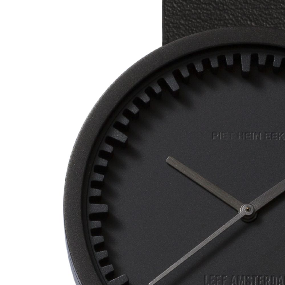 Black With Black Leather Strap Tube Watch D42 - LEFF Amsterdam