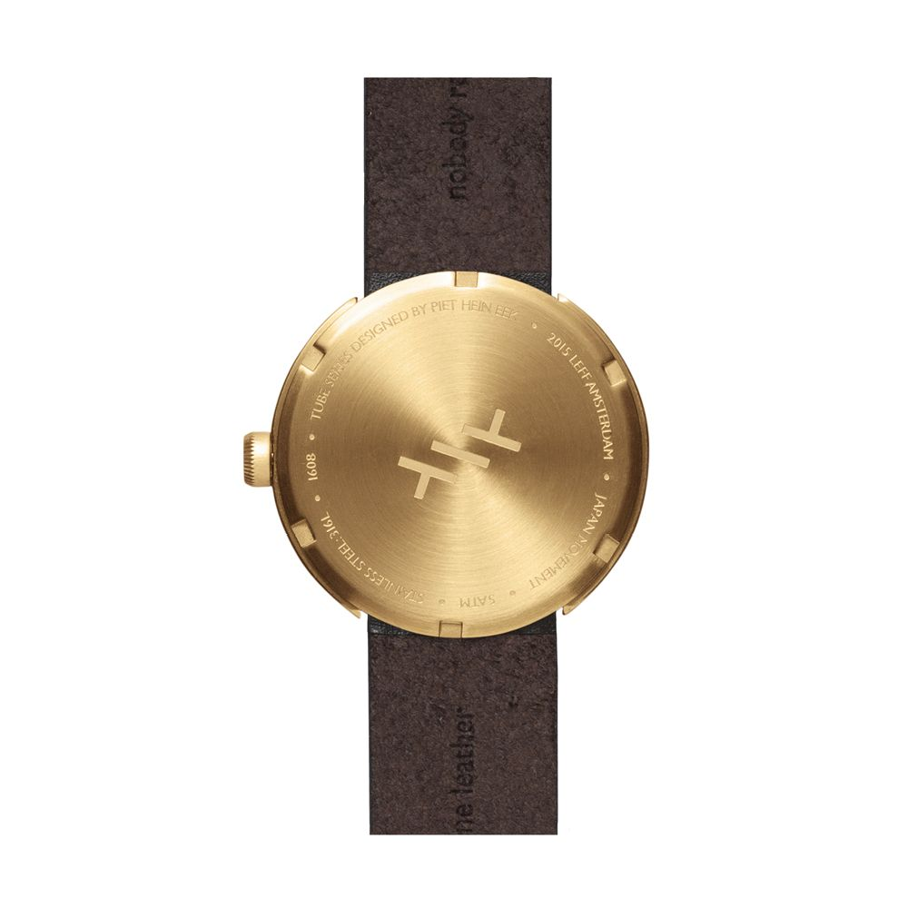 Brown Leather & Brass Tube Watch D42 - LEFF Amsterdam