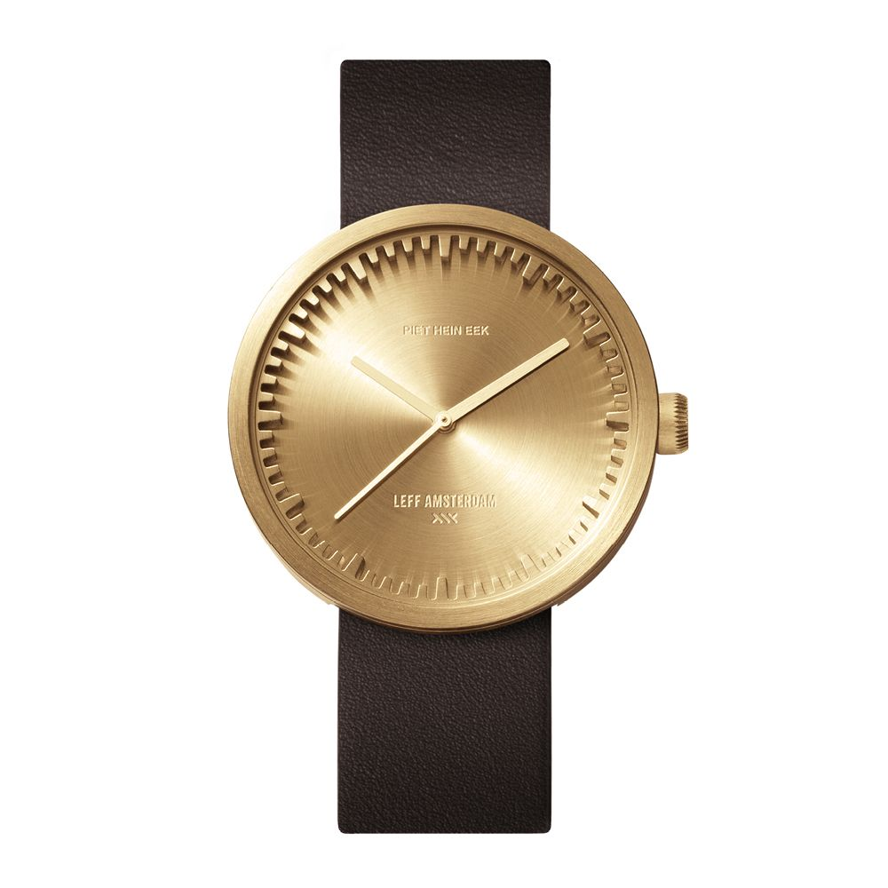 Brown Leather & Brass Tube Watch D52 - LEFF Amsterdam