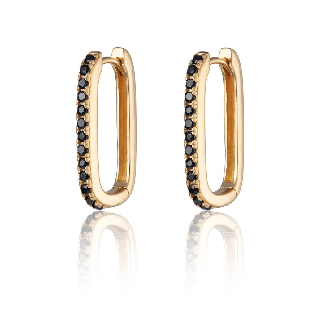 Gold Oval Huggie Hoop Earrings with Black Stones