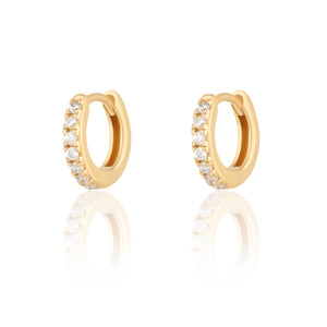Huggie Hoop Earrings With Clear Stone - Gold