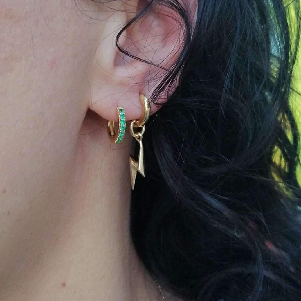 Lightning Bolt Hoop Earring - Gold