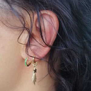 Shooting Star Huggie Hoop Earring - Gold