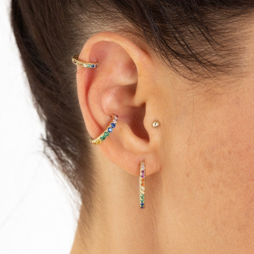 Oval Huggie Hoop Rainbow Earrings