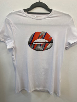 Bowie Lips Hand Printed Art T-Shirt