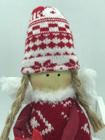 Red & White Hat & Jumper Fairy Holding Heart