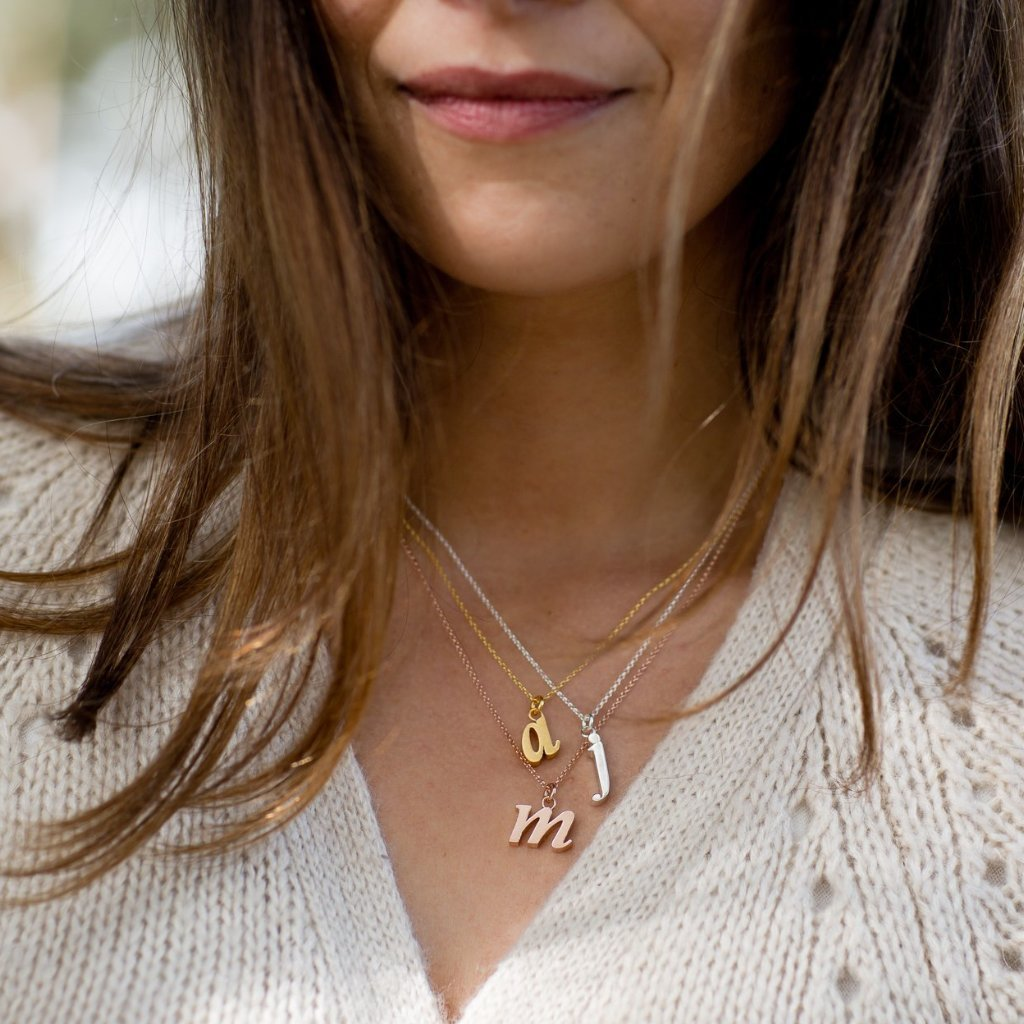 "Personalised Initial Necklace - Rose Gold ""J"""
