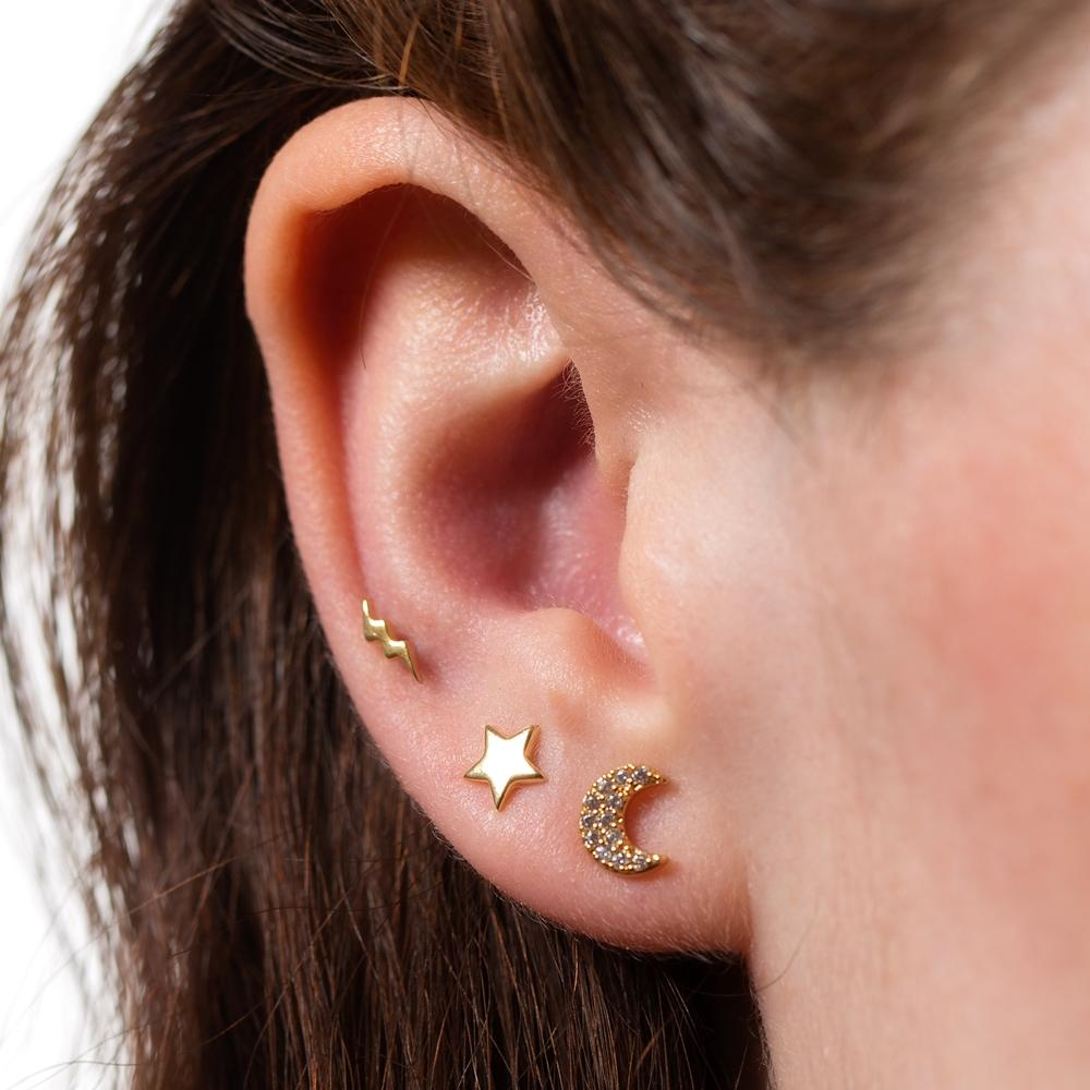 Copy of Celestial Set Of 3 Single Stud Earrings - Gold