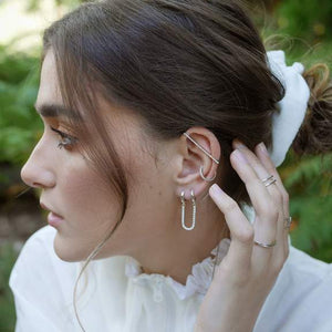Sparkling Cartlidge bar Ear Cuff - Silver